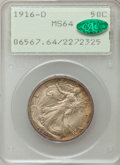 Walking Liberty Half Dollars, 1916-D 50C MS64 PCGS. CAC....