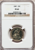 Proof Seated Quarters: , 1887 25C PR63 NGC. NGC Census: (30/159). PCGS Population (45/124).Mintage: 710. Numismedia Wsl. Price for problem free NGC...