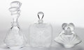 Art Glass:Lalique, THREE LALIQUE GLASS PERFUME BOTTLES . Wingen-sur-Moder, France,post 1945. Marks: Lalique, France . 4-3/4 inches high (1...(Total: 6 Items)