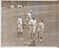 Baseball Collectibles:Photos, 1929 Babe Ruth on Opening Day News Photograph--First Yankees Gamein Numbered Jerseys!...