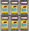 Baseball Cards:Lots, 1960 Topps Baseball 5-Cent PSA-Graded Unopened Wax Packs (6). ...