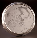 Silver Holloware, Continental, A CONTINENTAL SILVER PLATED MIRRORED PLATEAU . 20th century. 16-1/2inches diameter (41.9 cm). ...