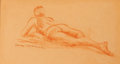 Fine Art - Work on Paper:Drawing, NATHAN WASSERBERGER (Polish/American, b. 1928). RecliningNude. Pastel on board. 7-1/2 x 13-1/2 inches (19.1 x 34.3cm)...