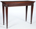 Furniture , A VICTORIAN MAHOGANY NEOCLASSICAL STYLE CONSOLE . 19th century . 33-1/2 inches high x 43 inches wide x 18 inches deep (85.1 ...