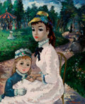 Fine Art - Painting, American, MAURICE ALLEROUX (French, 20th Century). Mother and Child in the Park. Oil on canvas. 29 x 24 inches (73.7 x 61.0 cm). S...