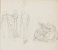 Fine Art - Work on Paper:Drawing, SIR LAWRENCE ALMA-TADEMA (Dutch, 1836-1912). Figural Study.Pencil on paper. 6 x 7-1/4 inches (15.2 x 18.4 cm). Initiale...