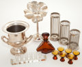 Decorative Arts, Continental:Other , A GROUP OF BOHEMIAN BARWARE AND SILVER PLATED WINE COOLER ANDCANDLE STICKS . 20th century . Marks: LEONARD, SILVERPLATE ...(Total: 19 Items)