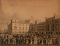 Prints, THE QUEEN RETURNING FROM THE HOUSE OF LORDS. 1821. 11-3/4 x14-1/4 inches (29.8 x 36.2 cm). Engraved by Dubo...