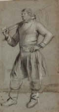 Works on Paper, PETER DE WINT (British, 1784-1849). Study of a Man. Charcoal pencil on paper. 11-1/2 x 6-1/4 inches (29.2 x 15.9 cm). ...