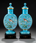 Art Glass:Other , A PAIR OF BOHEMIAN GLASS COVERED VASES . Circa 1880. 17-1/4 incheshigh (43.8 cm). ... (Total: 4 Items)
