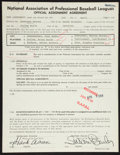 Baseball Collectibles:Others, 1984 Hank Aaron Signed Anderson Braves Document....