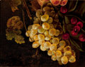 Fine Art - Painting, American, Manner of ANDREW JOHN HENRY WAY (American, 1826-1888). StillLife with Fruit. Oil on panel. 12 x 9-1/2 inches (30.5 x 24...