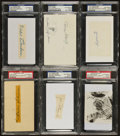 Baseball Collectibles:Others, Yankees Greats Signed Index Cards and Cut Signatures Lot of 6 - PSAAuthenticated. ...