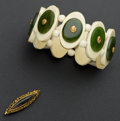 Estate Jewelry:Other , Gold Nugget Antique Pin & Bone & Jade Bracelet. ... (Total: 2 Items)
