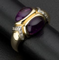 Estate Jewelry:Rings, Terrific Cabochon Amethyst & Diamond Gold Ring. ...