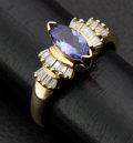 Estate Jewelry:Rings, Marquis Tanzanite & Diamond Gold Ring. ...