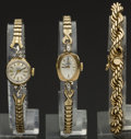 Timepieces:Other , 14k Gold Rope Bracelet & Two Gold Watches. ... (Total: 3 Items)