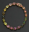 Estate Jewelry:Bracelets, Estate Multi-Color Tourmaline Gold Tennis Bracelet. ...