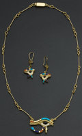 Estate Jewelry:Suites, Superb Egyptian 18k Gold Inlaid Necklace & Earrings. ... (Total: 2 Items)
