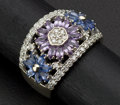 Estate Jewelry:Rings, Fine Sapphire & Diamond Wide Band Gold Ring. ...
