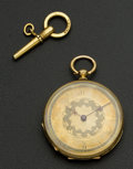 Timepieces:Pocket (pre 1900) , Swiss Fancy 18k Gold Key Wind. ...