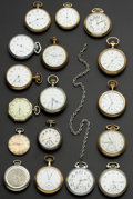 Timepieces:Pocket (post 1900), A Lot Of 17 U.S. & Swiss Pocket Watches. ... (Total: 17 Items)