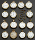 Timepieces:Pocket (post 1900), A Lot Of Fifteen Railroad Grade Pocket Watches. ... (Total: 15 Items)