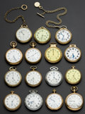 Timepieces:Pocket (post 1900), A Lot Of Fifteen Railroad Grade Pocket Watches Including A 23 Jewel B.W. Raymond. ... (Total: 15 Items)