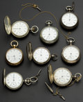 Timepieces:Pocket (pre 1900) , A Lot Of Eight U.S. 18 Size Pocket Watches. ... (Total: 8 Items)