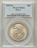 Commemorative Silver: , 1935/34 50C Boone MS64 PCGS. PCGS Population (634/921). NGC Census:(344/820). Mintage: 10,008. Numismedia Wsl. Price for p...