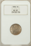 Liberty Nickels: , 1896 5C MS63 NGC. NGC Census: (64/147). PCGS Population (86/182).Mintage: 8,842,920. Numismedia Wsl. Price for problem fre...