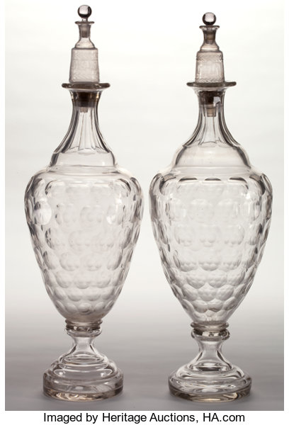 1602a197857e A PAIR OF IRISH GLASS APOTHECARY JARS . Circa 1830. 26-1/2 inches ...