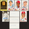 Baseball Collectibles:Others, Baseball Legends Signed Index Cards And Postcards Lot Of 9. ...