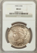 Peace Dollars: , 1925-S $1 MS61 NGC. NGC Census: (255/3883). PCGS Population(198/5346). Mintage: 1,610,000. Numismedia Wsl. Price for probl...