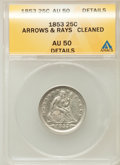 Seated Quarters: , 1853 25C Arrows and Rays -- Cleaned -- ANACS. AU50 Details. NGCCensus: (44/646). PCGS Population (89/583). Mintage: 15,210...