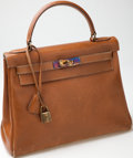 Luxury Accessories:Bags, Heritage Vintage: Hermes 28 cm Gold Box Calf Leather Kelly Bag withGold Hardware. ...