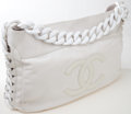 Luxury Accessories:Bags, Heritage Vintage: Chanel White Lambskin Leather Rodeo Hobo Bag withLucite Chain Strap. ...