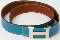 Heritage Vintage: Hermes Blue Jean and Gold Two-Tone Reversible Belt with Palladium H Buckle