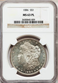 Morgan Dollars: , 1886 $1 MS63 Prooflike NGC. NGC Census: (319/420). PCGS Population(267/379). Numismedia Wsl. Price for problem free NGC/P...