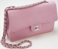 """Heritage Vintage: Chanel Pink Fabric """"Classic"""" Single Flap Bag with Silver Hardware"""
