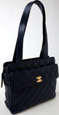Luxury Accessories:Bags, Chanel Navy Caviar Leather Shoulder Bag. ...
