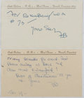 Autographs:Authors, Faith Baldwin (1893-1978, American Writer). Group of Two AutographNotes Signed. Very good....