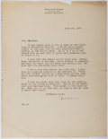 Autographs:Authors, Thornton Burgess (1874-1965, American Writer). Typed Letter Signed. Very good....