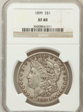Morgan Dollars: , 1899 $1 XF40 NGC. NGC Census: (21/7933). PCGS Population(52/10570). Mintage: 330,846. Numismedia Wsl. Price for problemfr...