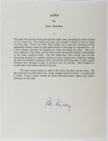 Autographs:Authors, Peter Benchley (1940-2006, American Writer). Signed Excerpt fromJaws. Fine....