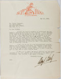 Autographs:Artists, Percy Crosby (1891-1964, American Writer and Illustrator). TypedLetter Signed. One edge tattered. Very good....