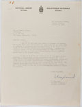 Autographs:Authors, W. Kaye Lamb (1904-1999, Canadian Archivist, Librarian, Historian).Typed Letter Signed. Very good....