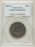 1767-A 9DEN French Colonies Copper Sou, RF Counterstamp VF35 PCGS. PCGS Population (22/34). NGC Census: (4/18). (#158637...