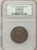 1787 COPPER Connecticut Copper, Draped Bust Left -- Obv Damage -- NCS. VF Details. NGC Census: (23/79). PCGS Population...