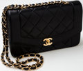 Luxury Accessories:Bags, Heritage Vintage: Chanel Black Quilted Lambskin Leather Flap Bagwith Long Chain. ...